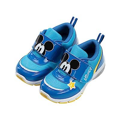 迪士尼童鞋 米奇 魔鬼氈電燈運動鞋-藍