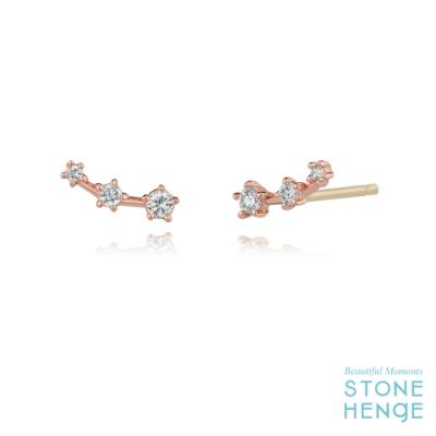 STONEHENgE 斯通亨奇 14K玫瑰金流線造型鋯石耳飾