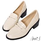 Ann'S學院提案-質感素面粗跟5cm紳士鞋(版型偏大)-米白