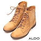 ALDO 原色真皮綁帶金屬拉鍊復古木紋粗跟短靴~個性淺棕
