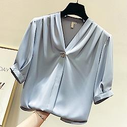 初色  氣質V領釘珠雪紡衫-共3色-(M-XL可選)