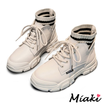Miaki-短靴韓風厚底襪靴登山靴-米