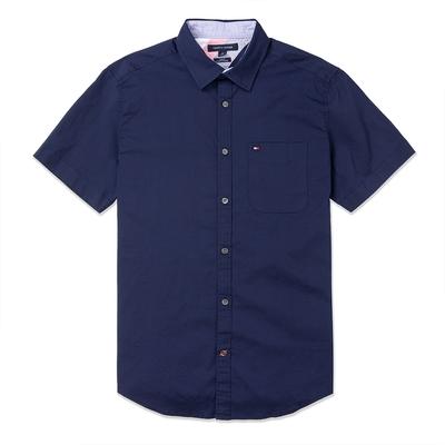 TOMMY 經典刺繡Logo短袖襯衫-深藍色