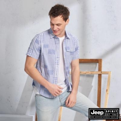 JEEP 交錯格紋短袖襯衫-藍色