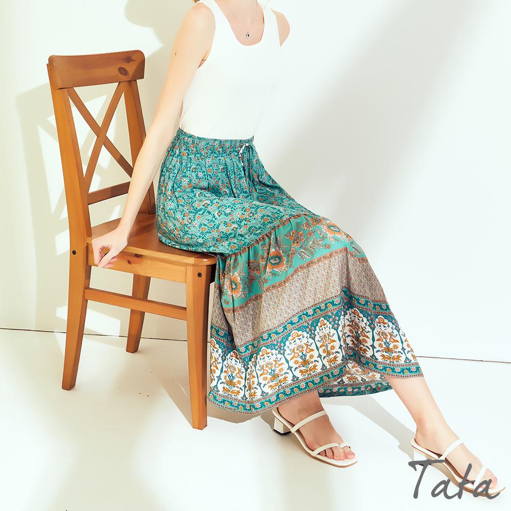 繫帶度假風印花長裙 共三色 TATA-F