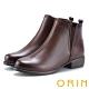 ORIN 簡約個性 復古牛皮拉鏈低跟短靴-咖啡 product thumbnail 1