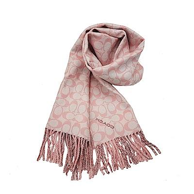 COACH 經典滿版LOGO 純羊毛披肩圍巾-粉紅格紋