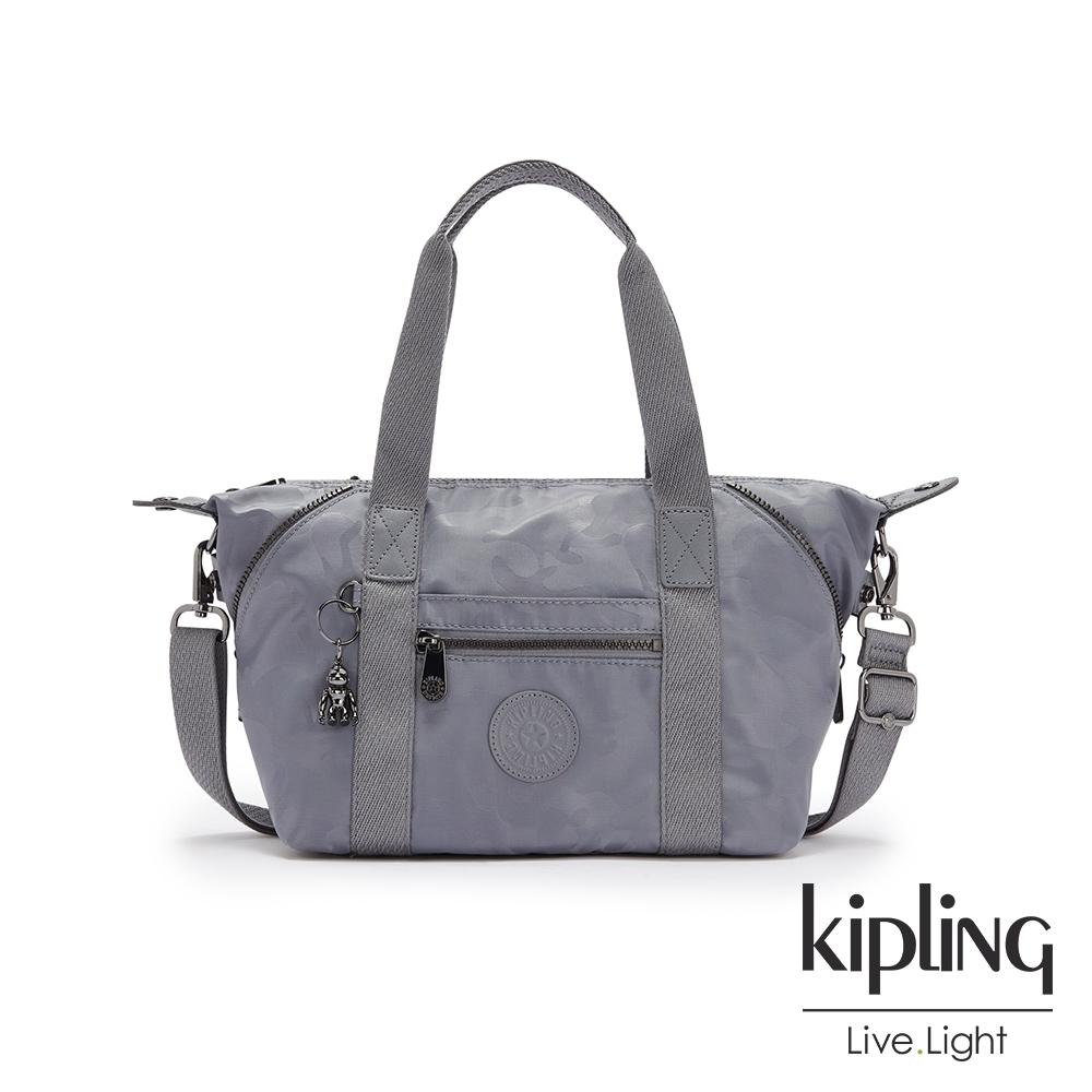Kipling 光澤霧灰紫迷彩手提側背包-ART MINI