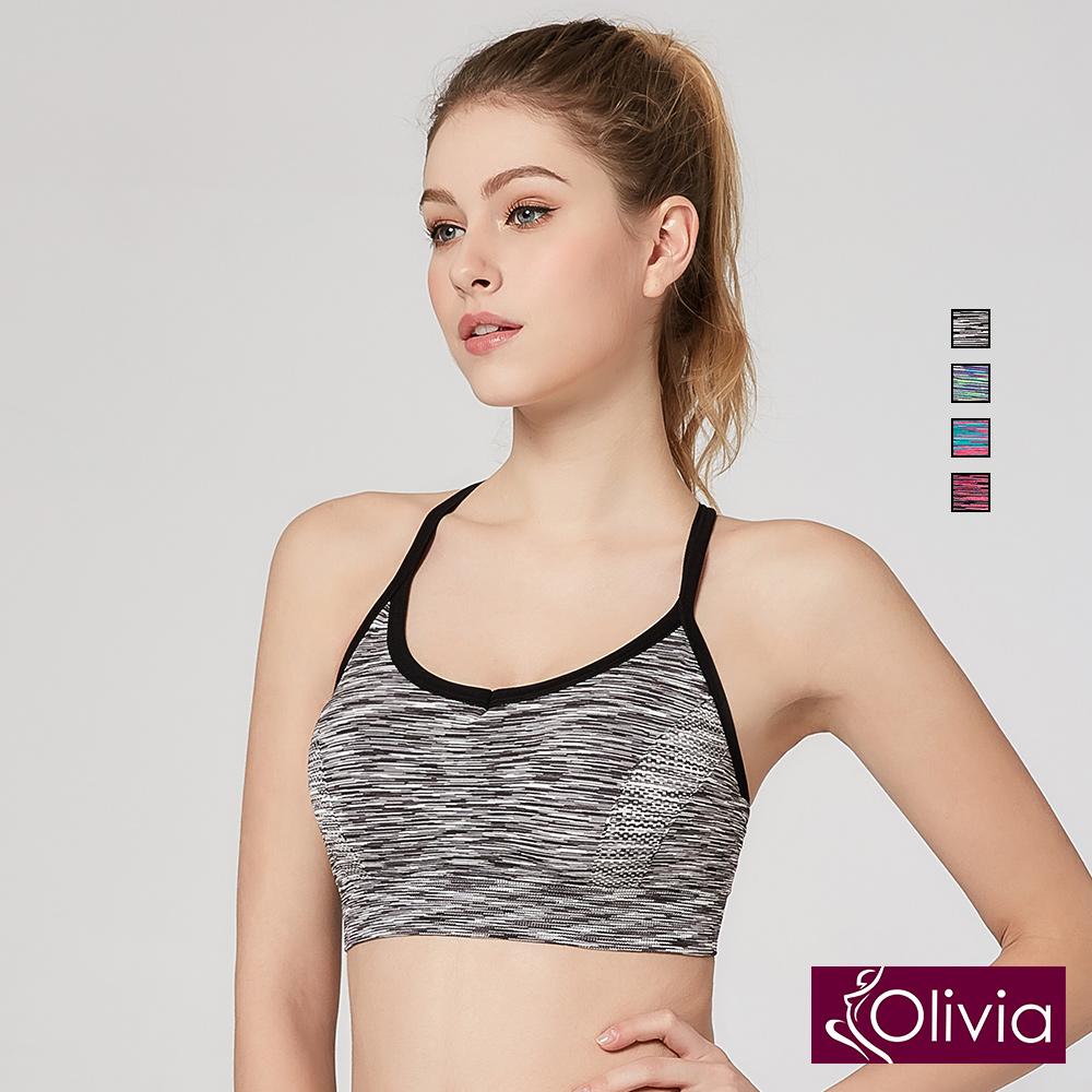 Olivia 無鋼圈高彈力防震美背運動內衣-黑色