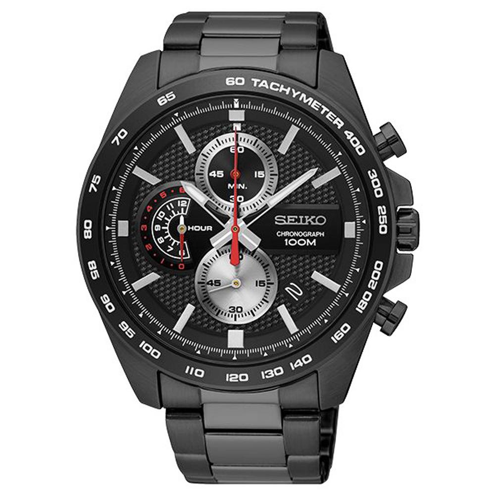 SEIKO 精工 鋒芒再現 三眼計時 手錶 SSB283P1-黑/44mm