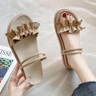 KEITH-WILL時尚鞋館 獨家價優雅美腿平底穿涼拖鞋-杏
