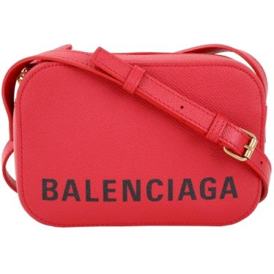 BALENCIAGA VILLE 品牌字母粒面小牛皮相機包(紅色/XS)