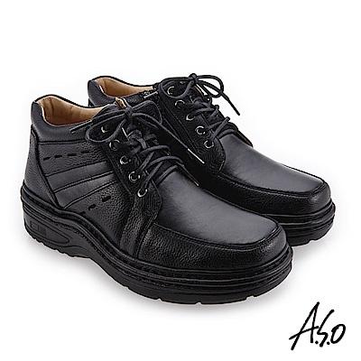 A.S.O 抗震雙核心 高舒適雙皮質休閒鞋 黑