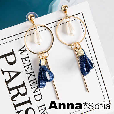 AnnaSofia 牛仔雙層布墬垂柱 耳針耳環(金系)