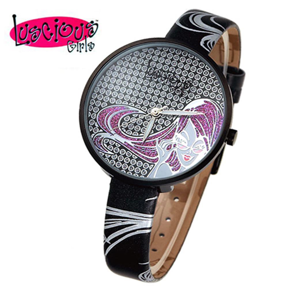 Luscious Girls浪漫少女 米蘭之星晶鑽女錶(LG009D時尚黑)