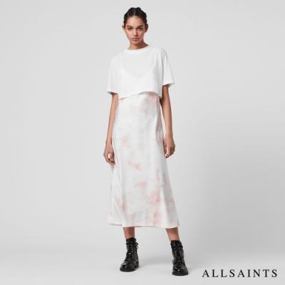 ALLSAINTS BENNO 暈染印花兩件式長版連身裙洋裝-白/粉