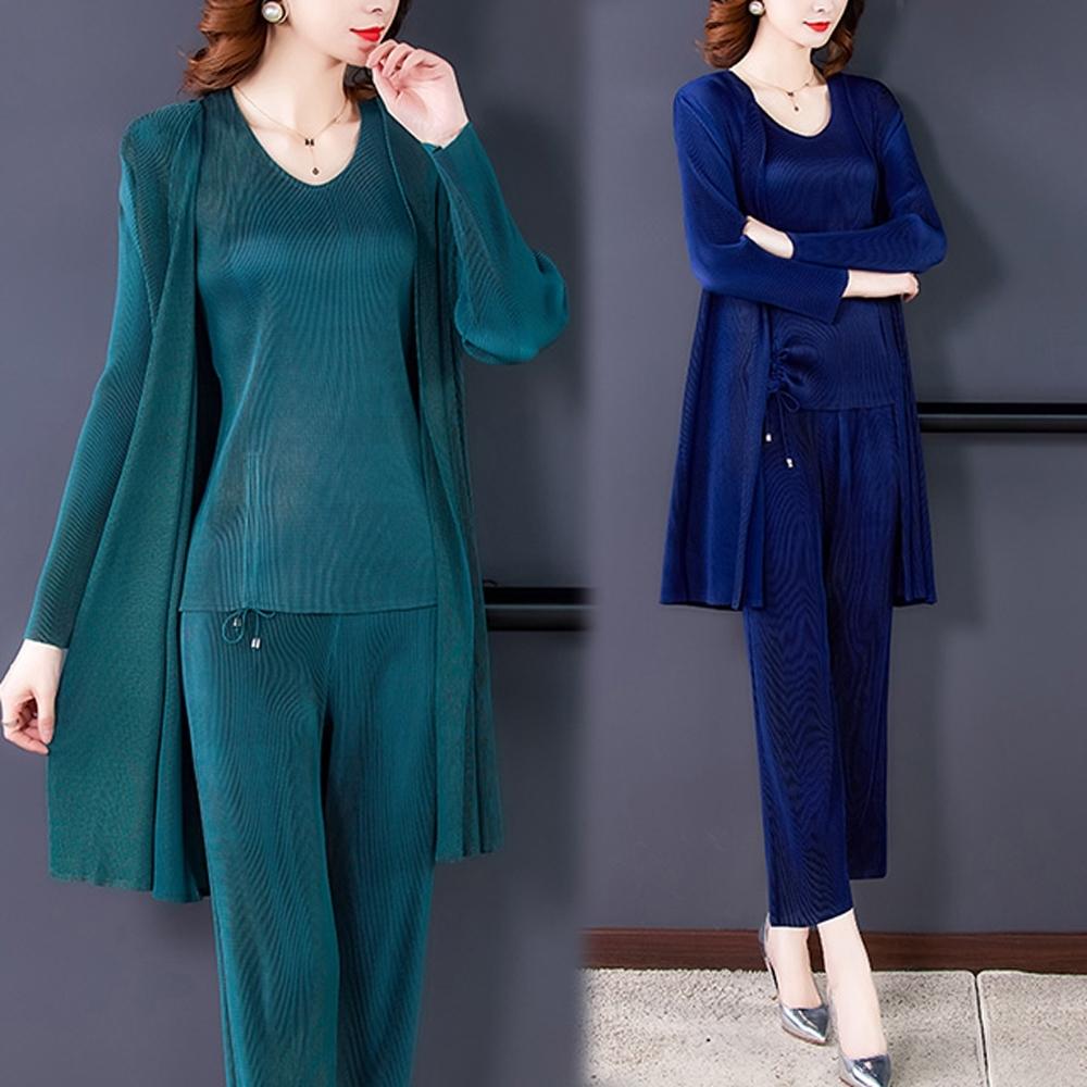 【KEITH-WILL】(預購)休閒亮麗三宅風壓褶三件式套裝(共3色) (藍色系)