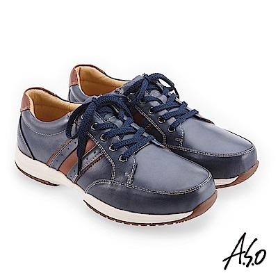 A.S.O 3D超動能 雙皮革配色休閒鞋 深藍