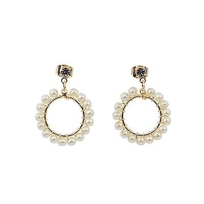 Prisme美國時尚飾品 珍珠花園 金色耳環 耳針式