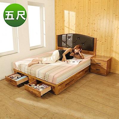 BuyJM拼接木系列雙人5尺2件式房間組(弧型皮革床頭+2抽床底)-免組