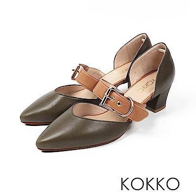 KOKKO - 艾菲爾鐵塔手工飾帶撞色粗跟鞋-酪梨色