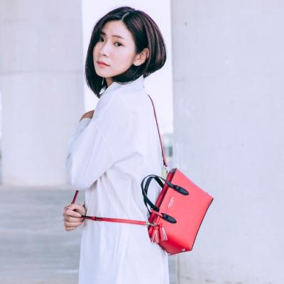 【Maria Carla】個性撞色手提側背托特包-S_番茄紅_都會時尚系列