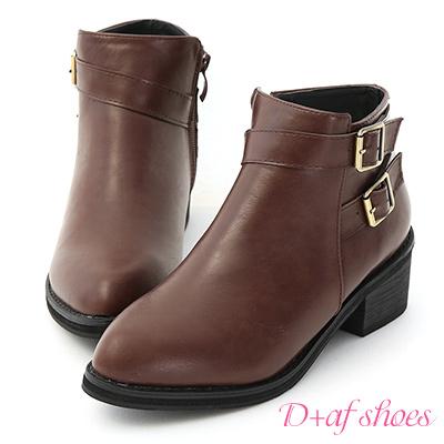 D+AF 騎士精神.質感雙釦環低跟短靴*咖