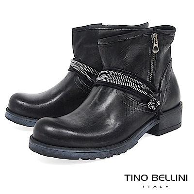 Tino Bellini義大利進口帥勁拉鍊造型工程靴_仿舊灰