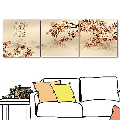 橙品油畫布 三聯式 無框畫中國風掛畫-晴川40x40cm