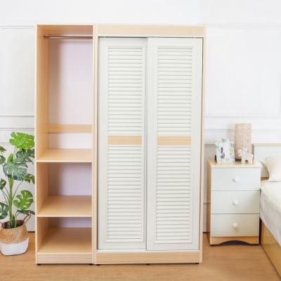 Birdie南亞塑鋼-4.7尺拉門/推門塑鋼衣櫃(白橡+白色)-140x61x200cm