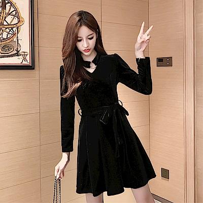 DABI 韓系復古小香風赫本小黑裙性感絲絨長袖洋裝