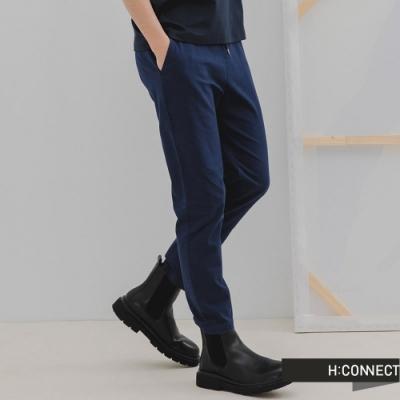 H:CONNECT 韓國品牌 男裝-純色百搭鬆緊Straight直筒褲-深藍色