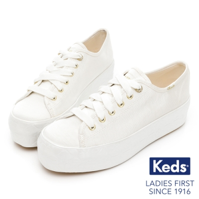 Keds x Kate Spade 聯名款 TRIPLE UP 黑桃鞋邊厚底休閒鞋-白
