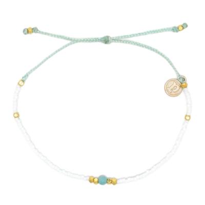 Pura Vida 美國手工 寶石感白色彩珠 水藍綠臘線衝浪手鍊手環