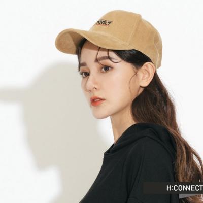 H:CONNECT 韓國品牌 配件 - 電繡字樣絨面棒球帽-黃