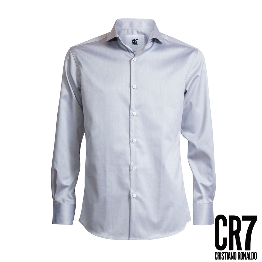 CR7-Slim Fit 寬角領淺灰色襯衫(8656-7200-02)