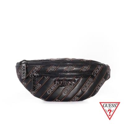 GUESS-女包-時尚斜壓線皮革腰包-黑
