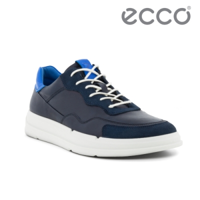 ECCO SOFT X M 撞色拼接運動休閒鞋 男鞋 海軍藍
