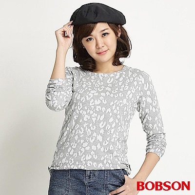 BOBSON 女款豹紋長袖上衣