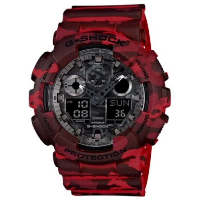 G-SHOCK系列 迷彩魅力時尚雙顯電子錶 GA-100CM-4A-迷彩紅