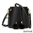 達芙妮DAPHNE-清新小毛球束口水桶包-黑色