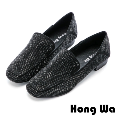 Hong Wa (偏小)時尚水鑽絨布休閒方頭樂福鞋 - 黑