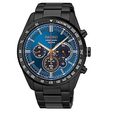 SEIKO Criteria時尚率性太陽能計時腕錶/V175-0DK0A/SSC471P1