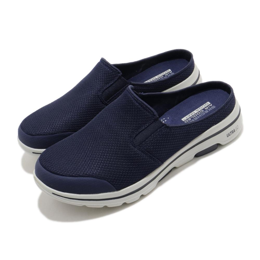 Skechers 拖鞋 Go Walk 5 Exposure 男鞋 輕量 透氣 回彈 避震 透氣瑜珈鞋墊 藍 灰 55522NVGY