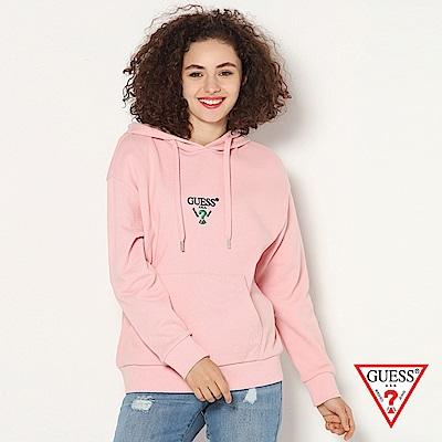 GUESS-女裝-logo文字印刷帽T-粉紅