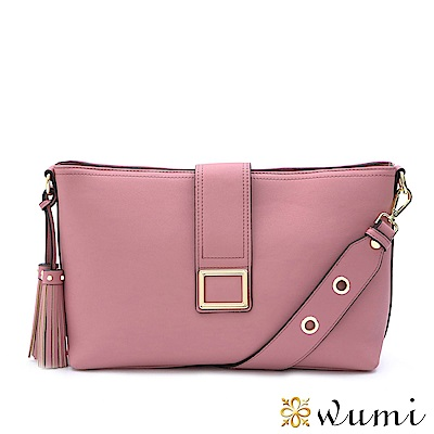 WuMi 無米 克莉絲汀流蘇方釦包 薔薇粉