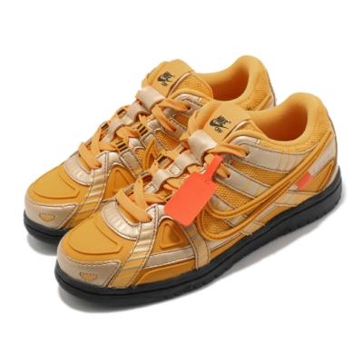 Nike 休閒鞋 Rubber Dunk OW PS 兒童鞋 Off White 聯名 潮流 金 黑 CW7410700