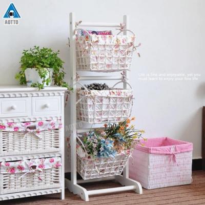 【AOTTO】日系鄉村風實木三層收納藍 置物籃 置物架 層架(兩款可選)