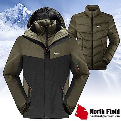 North Field 男 二件式防風防水外套+內層保暖羽絨夾克_深鐵灰