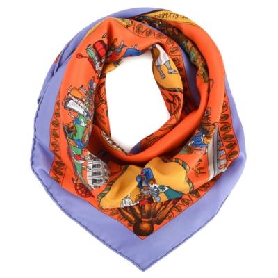 Hermes Promenades De Paris杜樂麗花園廣場方形絲巾-橘色/紫邊